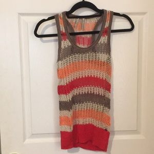 Guess Crochet Knit Striped Tank Top - Small